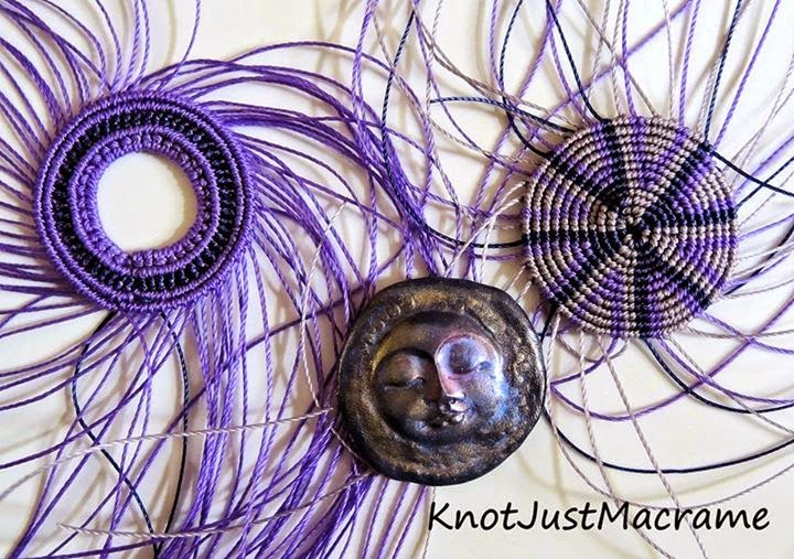 Micro macrame by Sherri Stokey with polymer cab by Lindsay Starr