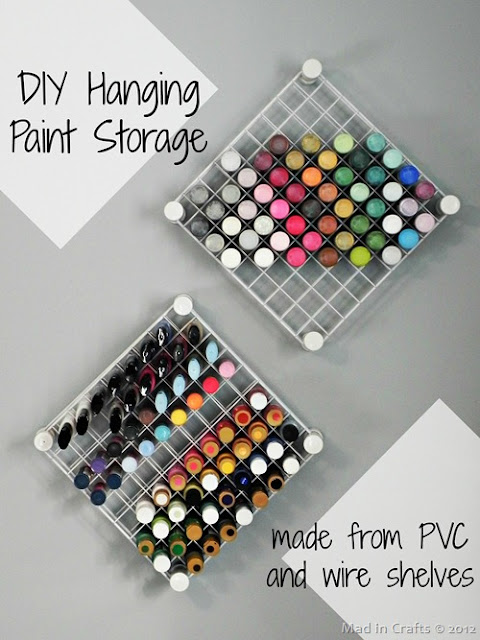 DIY Hanging Paint Storage, by Mad in Crafts, featured on Funky Junk Interiors