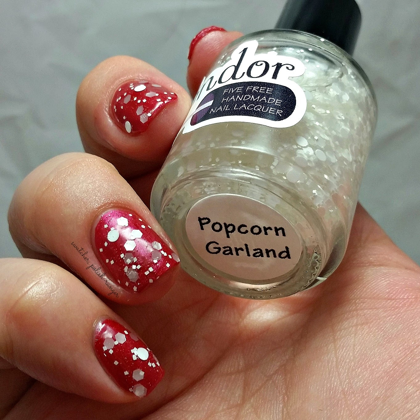 swatcher, polish-ranger | Splendor Nail Lacquer Popcorn Garland swatch (over Bing)