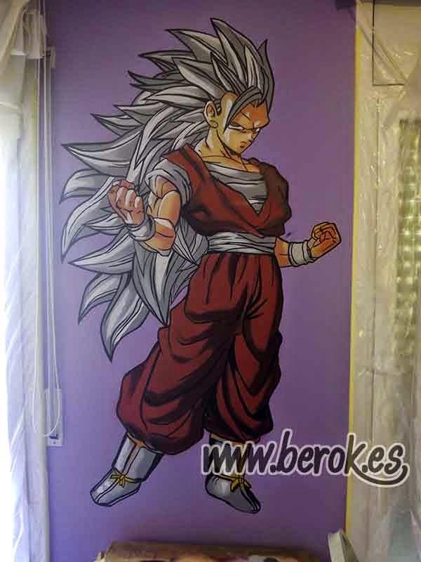 Mural de goku ss3 con pelo gris