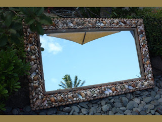 tropical seashell mirror with srufer style