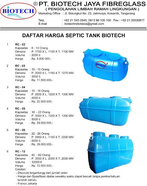 daftar harga septic tank biotech rc series, price list, biofil