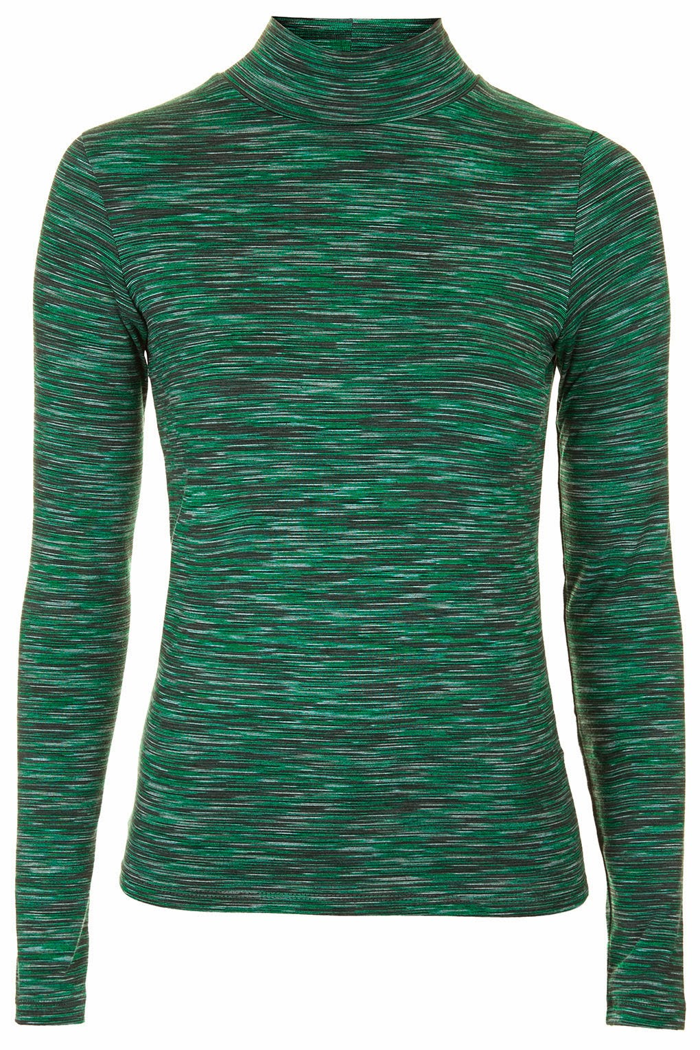 green funnel neck top