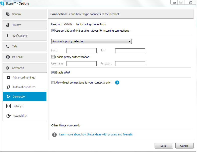 how to change which port skype uses