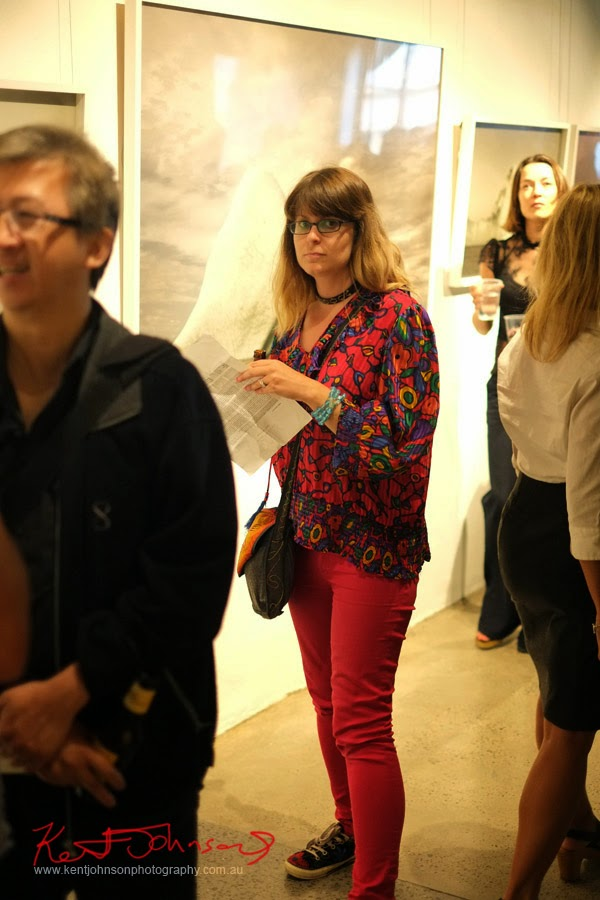 Reds, Jeans and patterned blouse, at MELT, Black Eye Gallery Sydney.