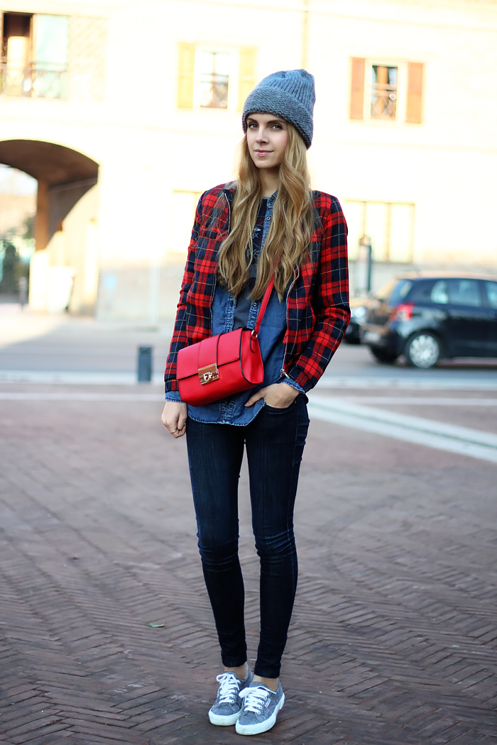 denim on denim, tartan bomber jacket, oversized beanie, superga sneakers, red crossbody bag, outfit