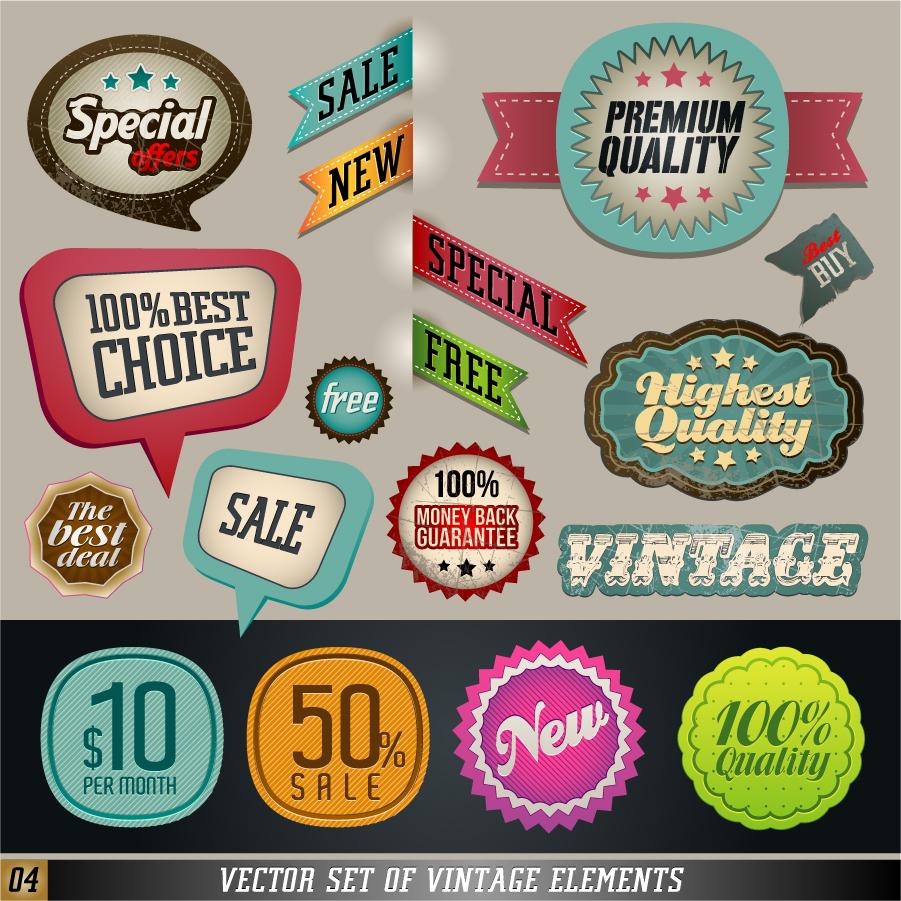 お洒落な販売ステッカー classic label stickers イラスト素材