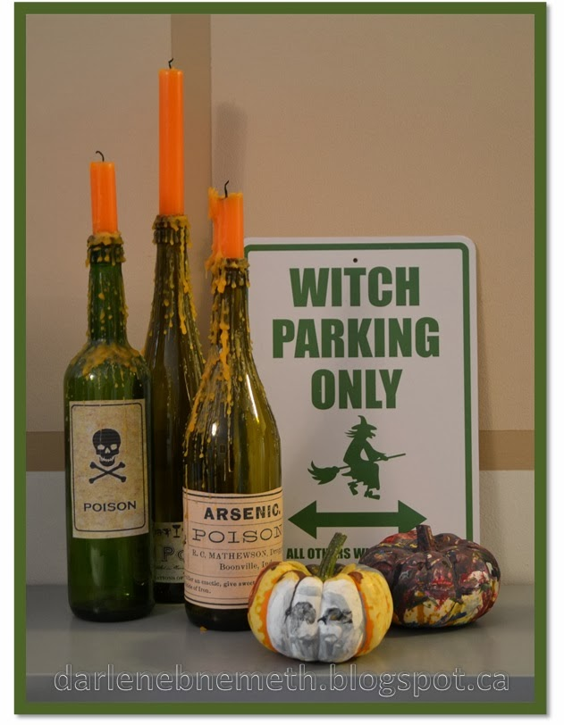 Wine Candle Holders and Painted Pumpkins