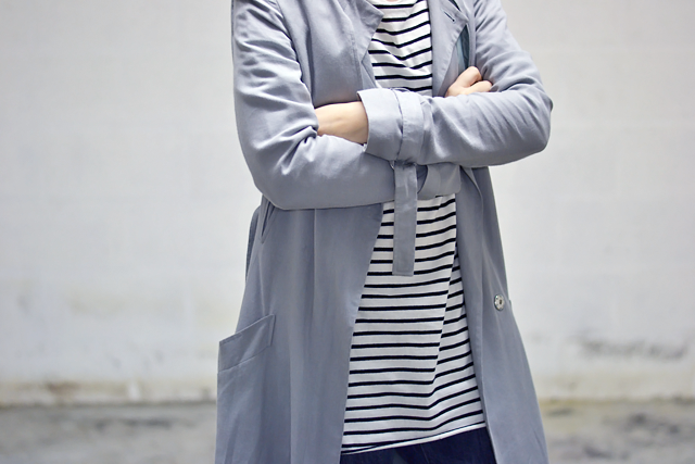 Close up detail, outfit detail, striped dress, zara, trench coat asos, grey