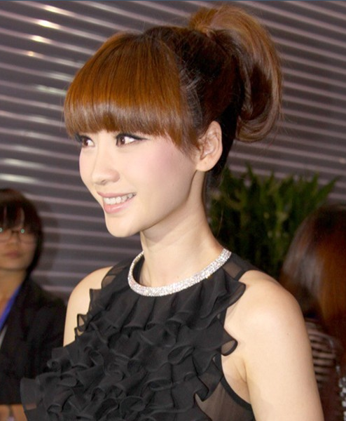 Korean Hairstyle With Cute Fringe Brown Highlights