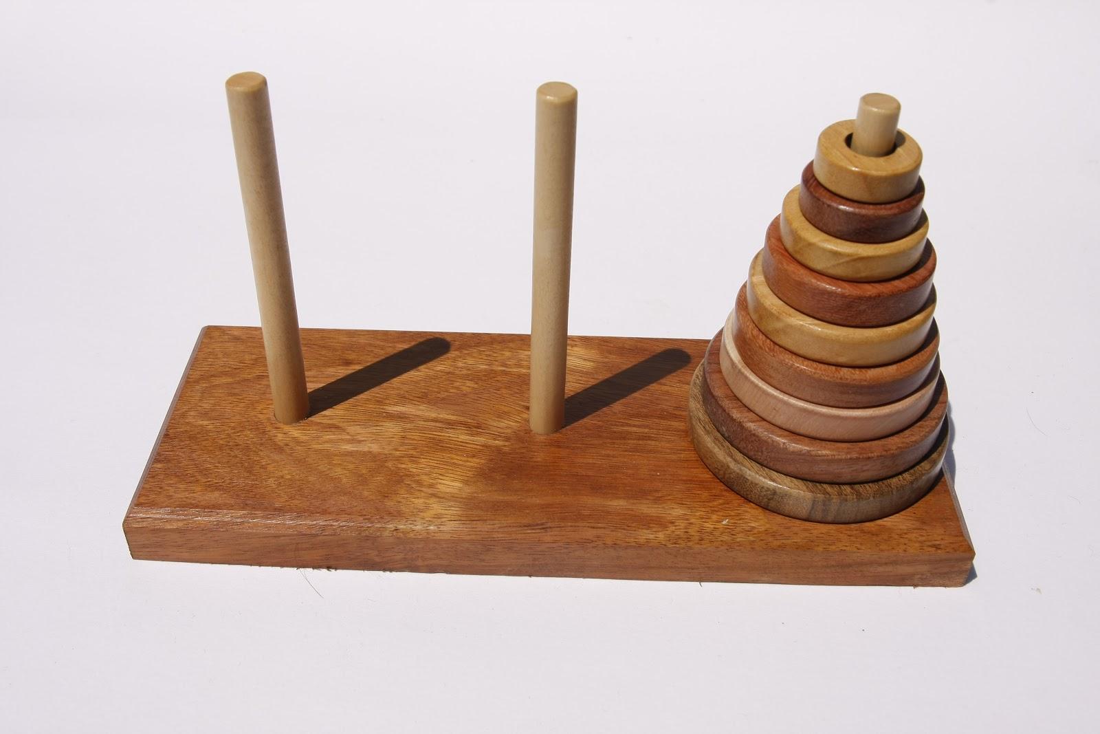 Jeux et enigmes en bois La tour de Hanoi neufétages et six essences de bois # Jeux Casse Tete Chinois En Bois