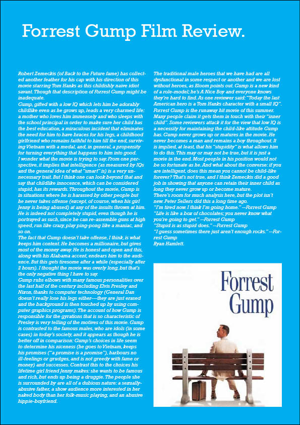 forrest gump movie review essay Free essay: forrest gump movie review essay often, hardships such as war part forrest gump essay of a detailed lesson plan by bookrags.