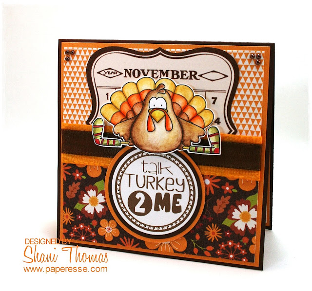Talk Turkey 2 Me Thanksgiving card with Whimsie Doodle digital stamps – colored with Caran d'Ache Neocolor II water soluble pastels