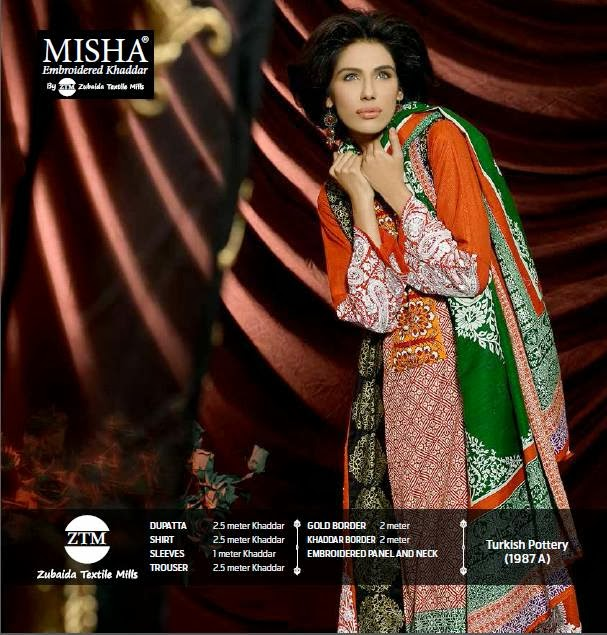 Misha Embroidered Latest Khaddar Dresses Collection 2014 For Women And Girls by ZTM