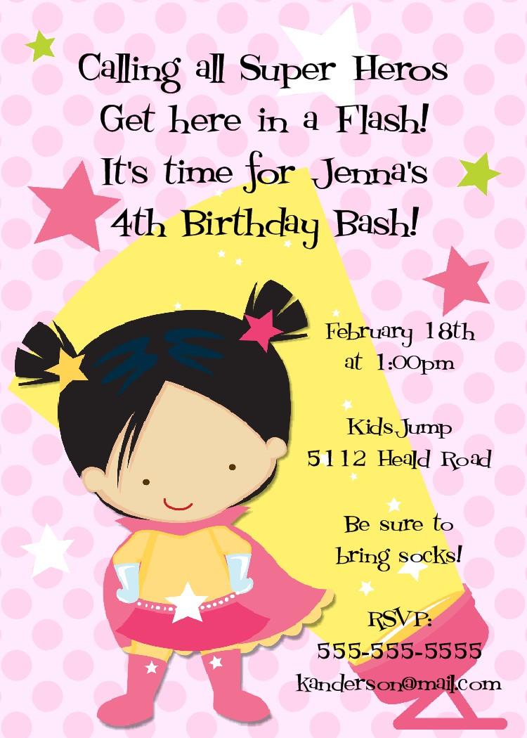 bear river photo greetings superhero girl birthday invitations