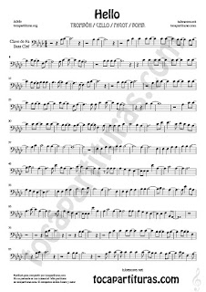 1  Hello by Adele Partitura de Trombón, Chelo, Fagot y Bombardino en clave de fa Sheet Music for Trombone, cello, bassoon,Euphonium in bass clef Music Scores