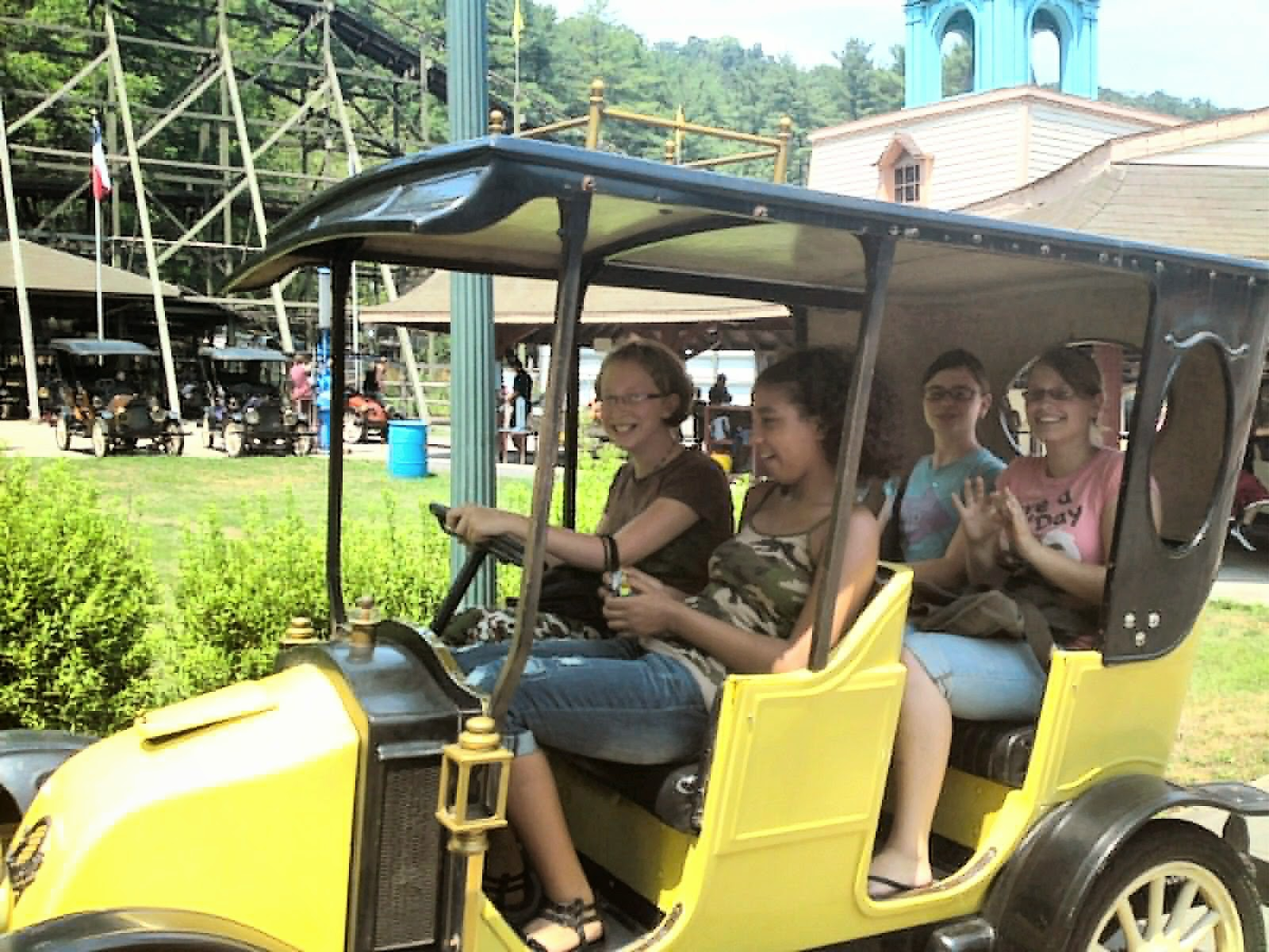 antique cars at Knoebels