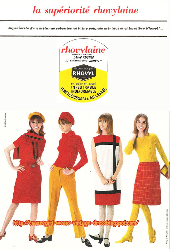 Rhovylaine ! 1966 red yellow mondrian colorblock dress 60s 1960
