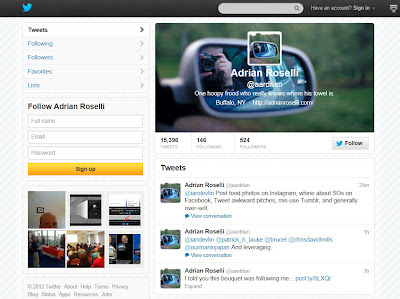 Screen capture of new Twitter header on desktop browser.
