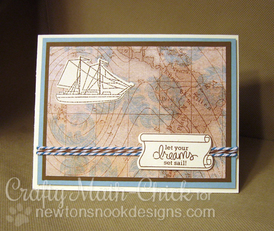 Ship Card by Crafty Math-Chick | Message in a Bottle Stamp set by Newton's Nook Designs