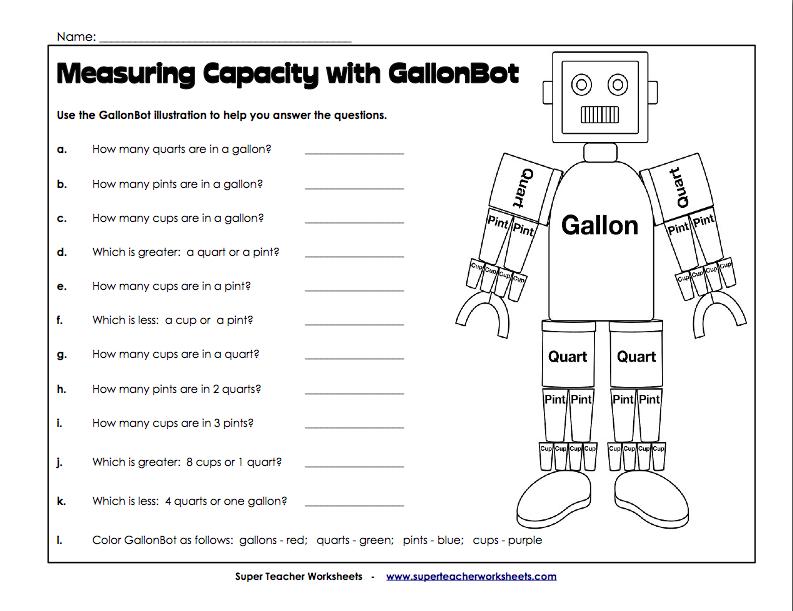 Measuring Capacity With Gallon Bot Worksheet - measuring capacity ...