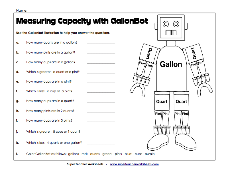 Gallon+Man+Printable+Lesson+Plans GallonBot Worksheet