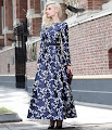 New 2016 Long Sleeve Elegant Dark Blue Floral Print Flare Maxi