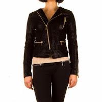 Jacheta tinereasca, de culoare neagra, incheiata cu fermoar oblic ( )