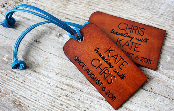 photo of leather luggage tags