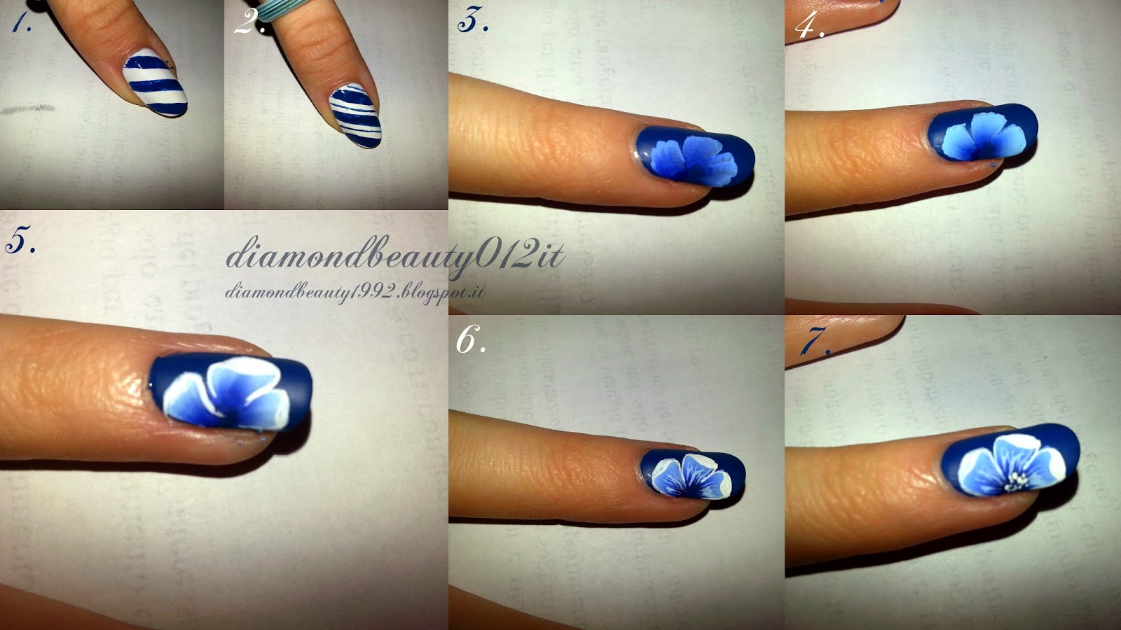 navy style nails steps