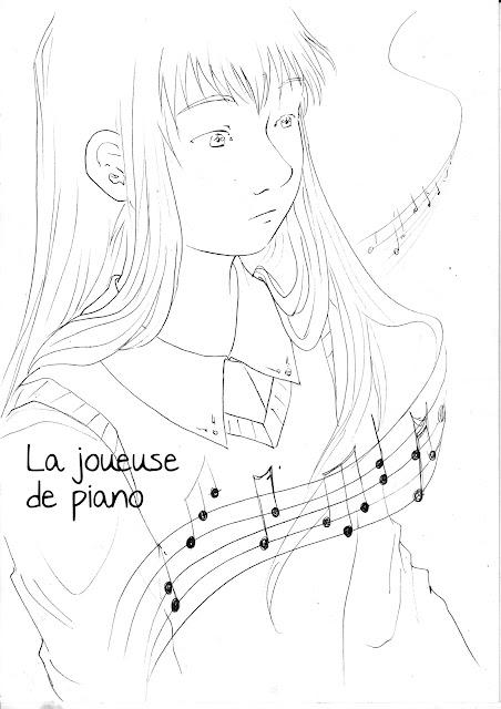 La joueuse de piano - 12 h de la BD 2016 - Noir et blanc
