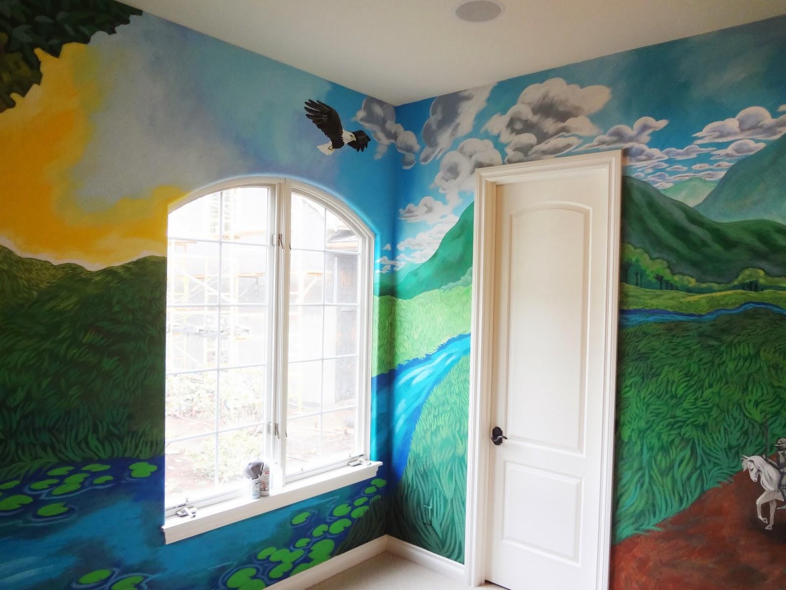 kids forest mural, nursery mural, portland muralist, kids room mural portland, forest mural