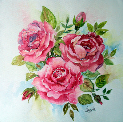 pink,roses,fabulous,theme,summer,garden,fresh,botanicals,flowers,watercolours,painting
