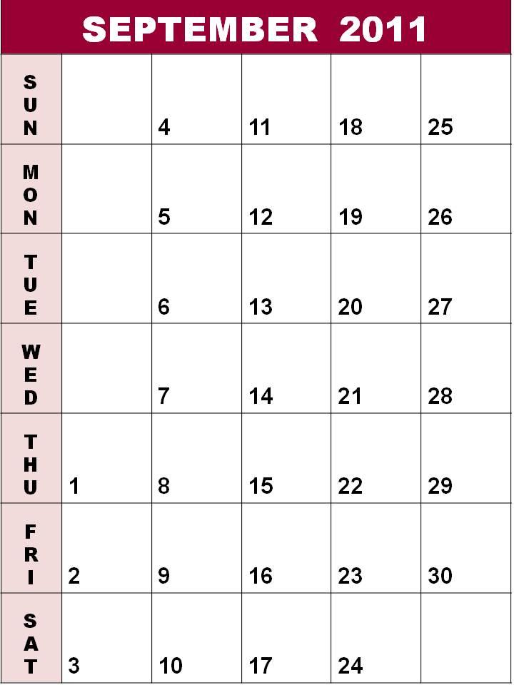calendar september 2011. Blank Calendar September 2011