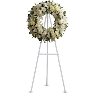 Send A Sympathy Wreath of White Flowers with the Teleflora Serenity Wreath
