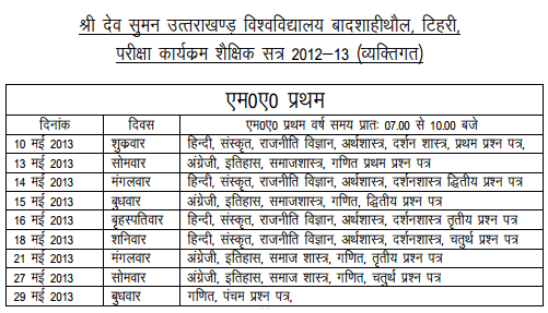 MA First Year Private Exam 2013 Datesheet | Sri Dev Suman Uttarakhand University Badshahithaul Tehri