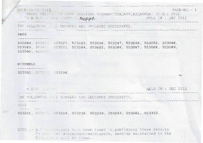 GGU MBBS Part 1, BDS Part 3 Results 2012 - 2013 - ggu.ac.in