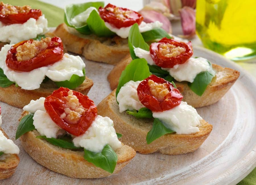 Bruschetta With Tomatoes, Mozzarella And Olives Recipes — Dishmaps