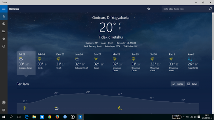 Cuaca aplikasi WIndows 10
