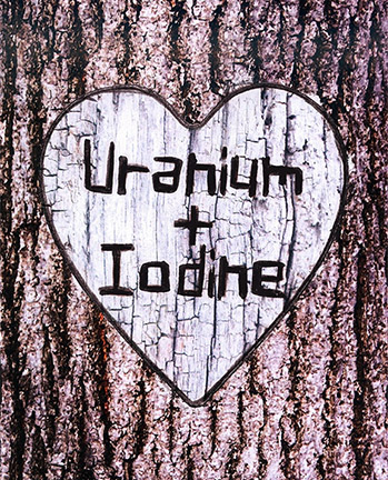 Craftiments:  Chemistry valentine, Uranium + Iodine carved in tree trunk