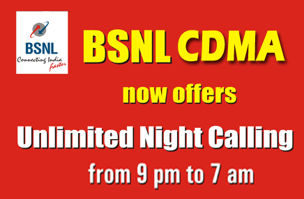 BSNL CDMA / WLL Free Unlimited Night Calling for Postpaid Users