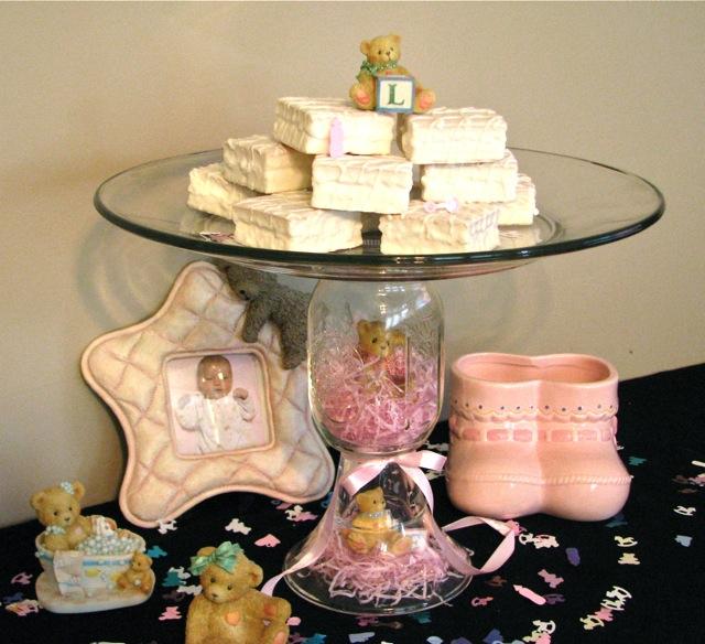 baby shower theme decor mason jar cake plate inside jar