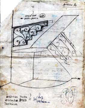 Lay-out escada em três mezanino ..