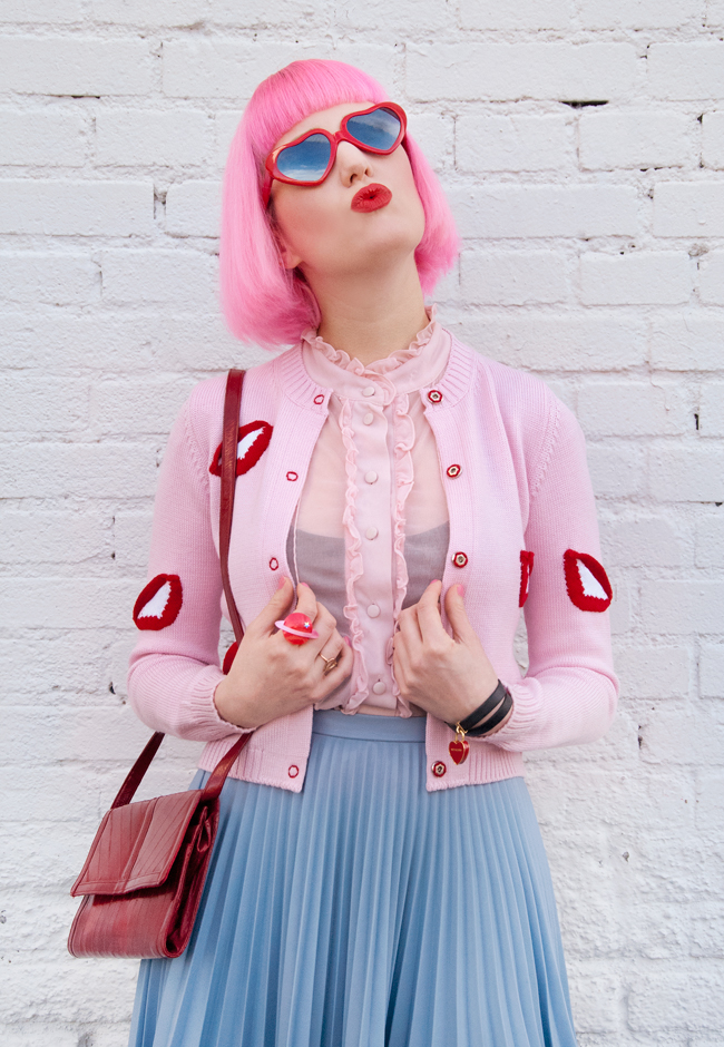 vivetta, heart shaped glasses, pink and red