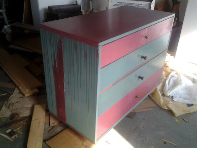 pinks, dirty teals, drips, faux finished top, selective delamination