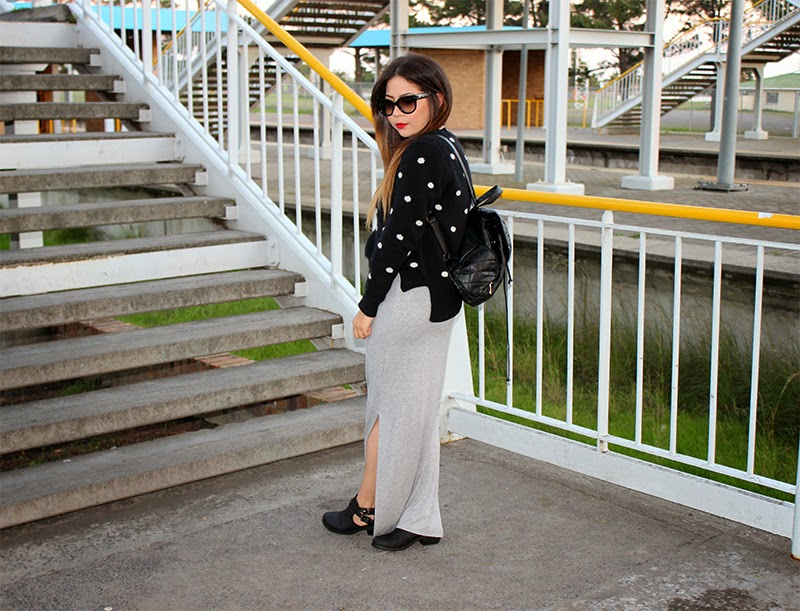 jersey & maxi skirt ootd, side slit maxi skirt, polka dot jersey, cut out boots, backpack, mac ruby woo lipstick, fashion blogger cape town, prada cat eye sunglasses