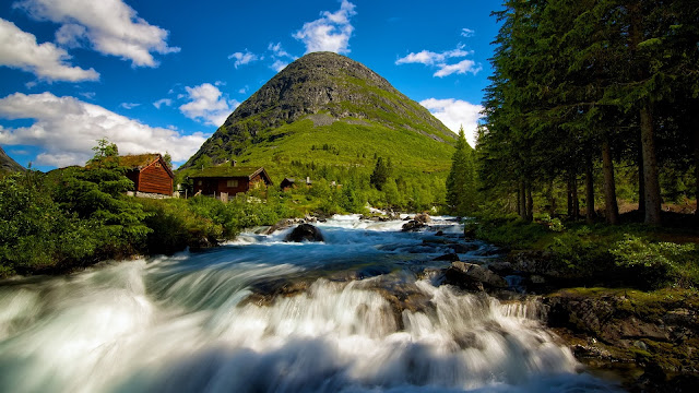 Valldal in Norway Waterfall Mountain Cabins Trees HD Wallpaper