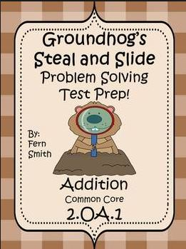Fern Smith's TEST PREP for Groundhog's Day - Addition Word Problems with STEAL and SLIDE!