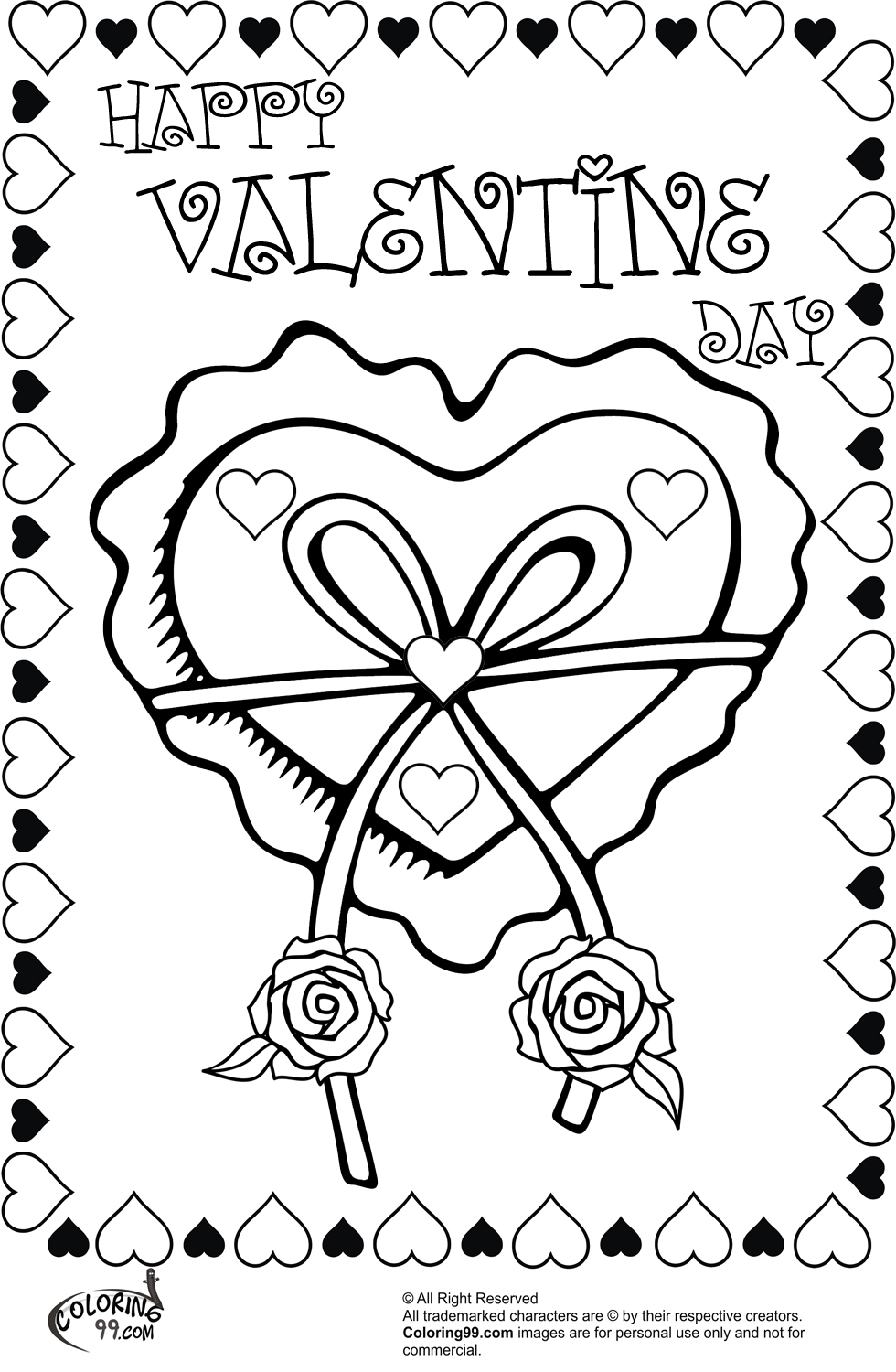 valentine heart ribbon and roses coloring pages
