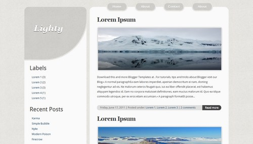 Free Grey Chrome Light Blogger Template